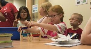 Primary school students during Ellicott STEM Night in Colorado, USA
